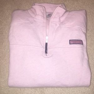 Light pink Vineyard Vines quarter zip pullover